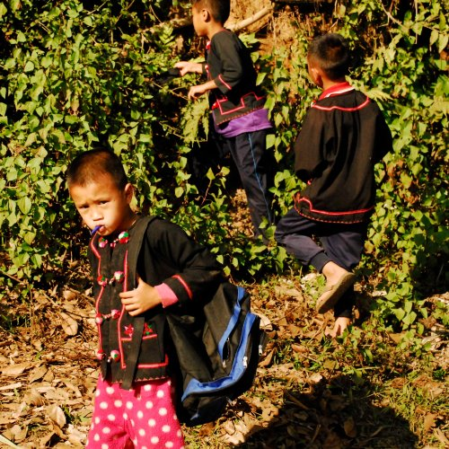 kids on tribal clothes