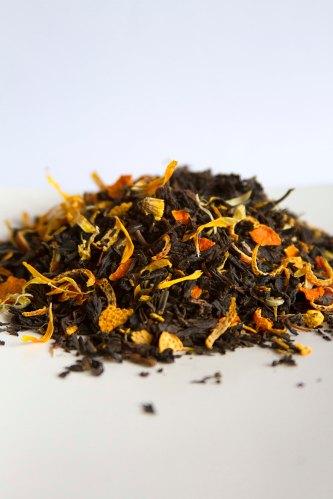 CARAMELODRAMA cha preto laranja limao siciliano calendula